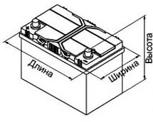 Характеристики аккуммулятора по размерам