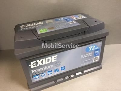 АКБ EXIDE Premium 12V 72Ah 720A 278x175x175 /-+/ EA722