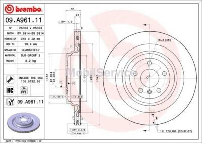 Диск тормозной задний 09A96111 для Мерседес GL166