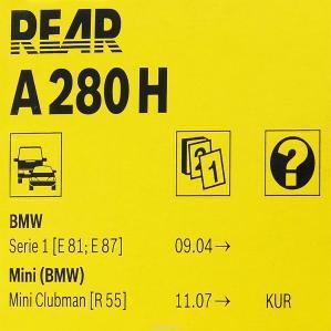 Купить заднюю щетку стеклоочистителя A280H