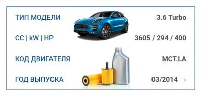 Набор для ТО для PORSCHE MACAN TURBO 3.6