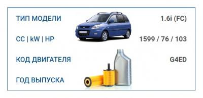 Набор ТО для HYUNDAI MATRIX 1.6