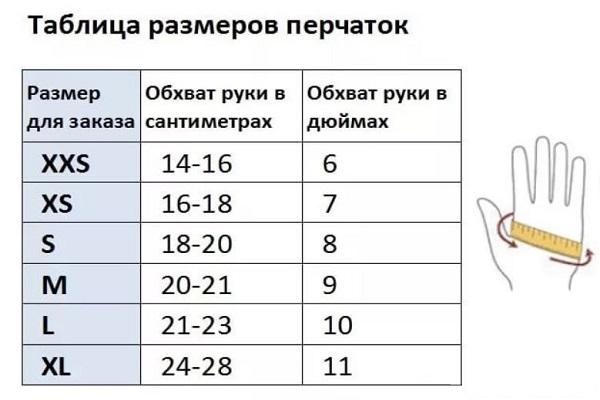 Таблица размеров перчаток