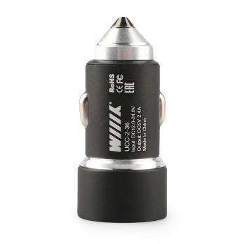 Зарядное устройство в прикуриватель с двумя USB портами, черный WIIIX UCC-2-36
