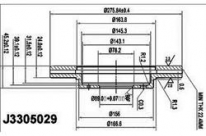 Диск тормозной J3305029 для Mitsubishi